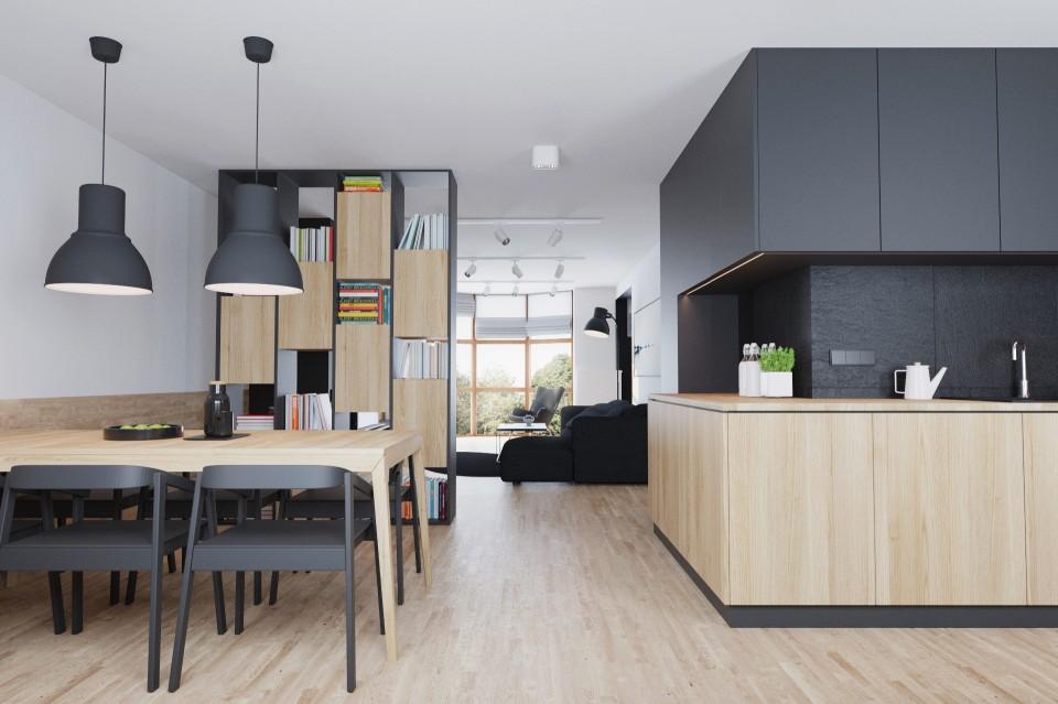 mieszkanie czarne kuchnia