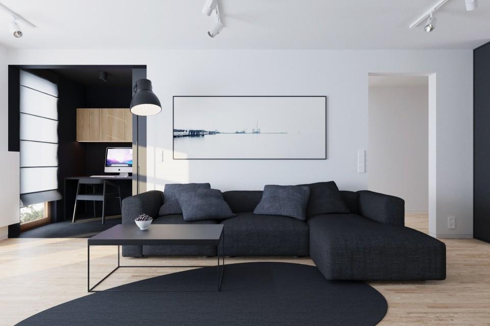 mieszkanie czarne salon