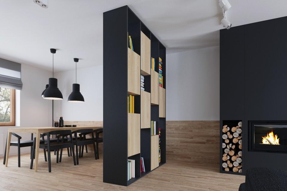 mieszkanie czarne biblioteczka