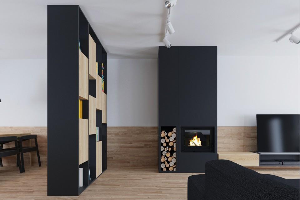 mieszkanie czarne kominek